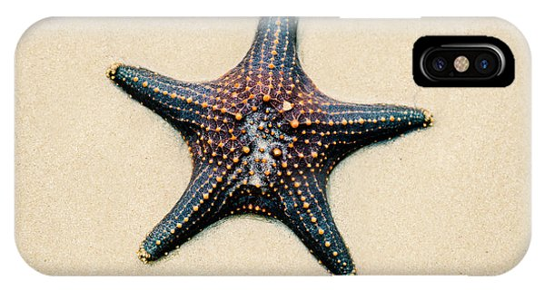 Starfish On The Beach Sand. Close Up. IPhone Case