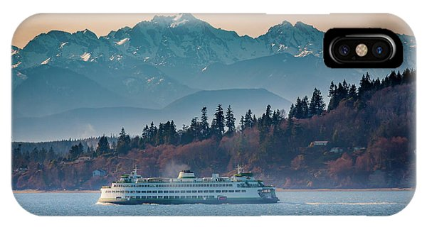 Sunset iPhone Case - State Ferry And The Olympics by Inge Johnsson