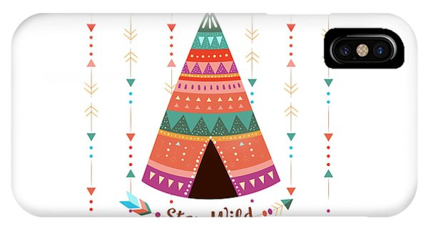 Stay Wild - Boho Chic Ethnic Nursery Art Poster Print IPhone Case