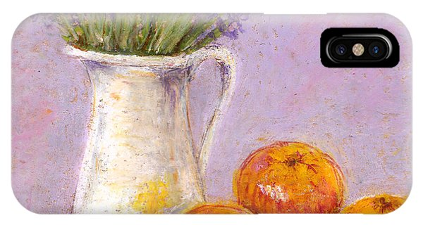 Lavender iPhone Case - Still Life With Lavender And Apples - Pastel Texture by Elena Sysoeva