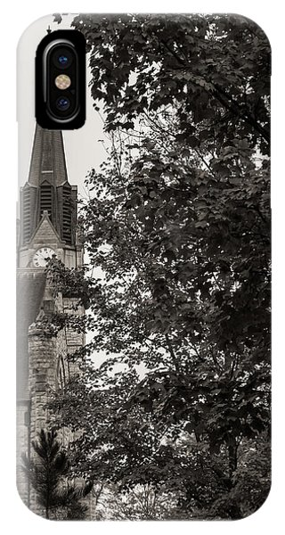 IPhone Case featuring the photograph Stone Chapel - Black And White by Allin Sorenson