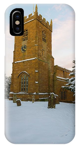 Stone Church In The Snow At Sunset IPhone Case