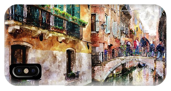 People On Bridge Over Canal In Venice, Italy - Watercolor Painting Effect IPhone Case