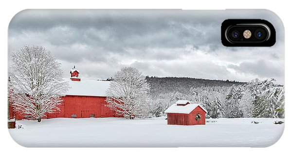New England Barn iPhone Case - Storm Clouds by Bill Wakeley