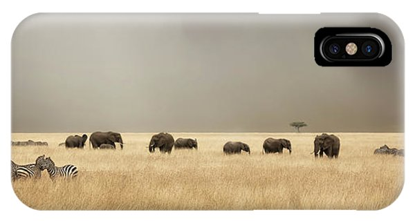 iPhone Case - Stormy Skies Over The Masai Mara With Elephants And Zebras by Jane Rix