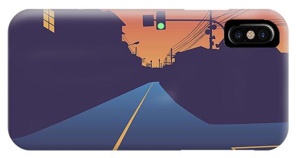 Street Light iPhone Case - Street At Sunset by Robert Adrian Hillman
