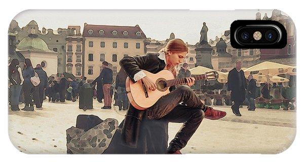 Street Music. Guitar. IPhone Case