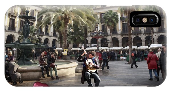 Street Music. Guitar. Barcelona, Plaza Real. IPhone Case