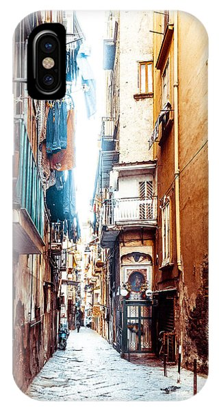 Old Building iPhone Case - Street View Of Old Town In Naples City by Ilolab