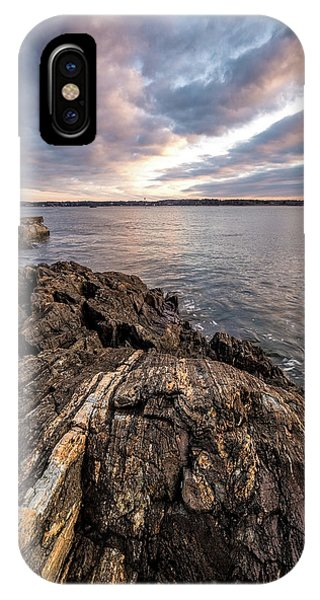 Striations. Leading Lines In The Rocks IPhone Case