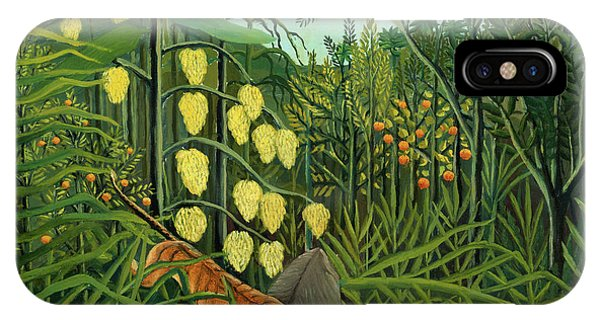 Struggle iPhone Case - Struggle Between Tiger And The Bull In A Tropical Forest, 1909 by Henri Rousseau