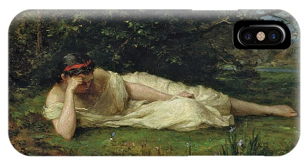 Deep Thought iPhone Case - Study At The Waters Edge, 1864 by Berthe Morisot