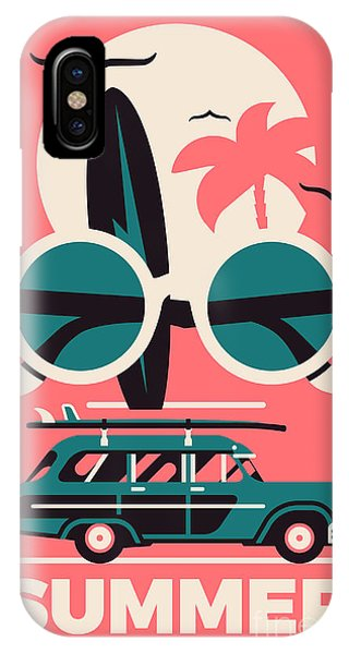 Surfboard iPhone Case - Stylish Vector Concept Design On by Mascha Tace