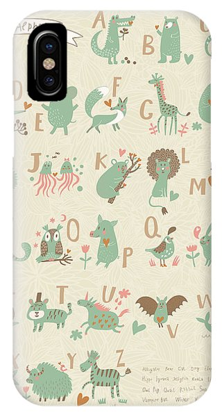 Stylish Zoo Alphabet In Vector. Lovely Phone Case by Smilewithjul