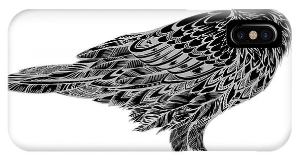 Crow iPhone Case - Stylized Crows. Decorative Bird. Line by In Art