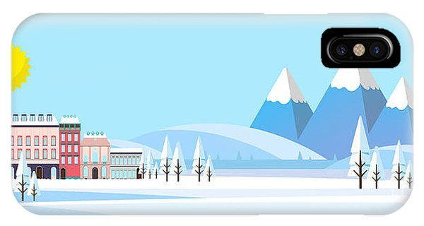 Freeze iPhone Case - Suburban Buildings In Winter Landscape by Droidworker