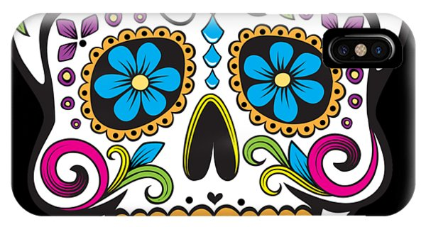 IPhone Case featuring the digital art Sugar Skull Day Of The Dead by Flippin Sweet Gear