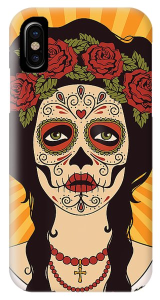 Violet iPhone Case - Sugar Skull Girl by Rvvlada
