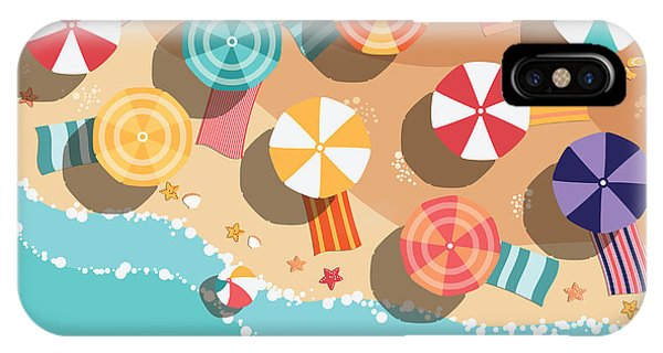 Parasol iPhone Case - Summer Beach In Flat Design, Aerial by Bluelela