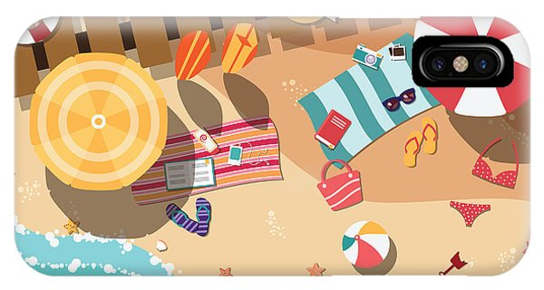 Parasol iPhone Case - Summer Beach In Flat Design, Sea Side by Bluelela