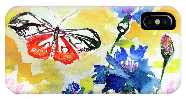 IPhone Case featuring the painting Summer Butterfly In Cornflowers by Ginette Callaway