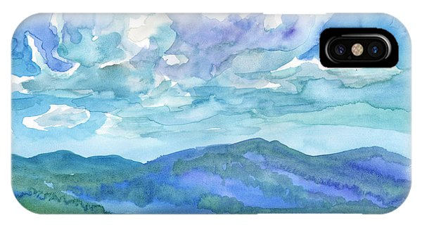 IPhone Case featuring the painting Summer Clouds Landscape  by Dobrotsvet Art