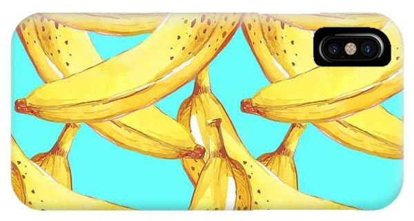 Kitchen iPhone Case - Summer Fruit Pattern. Watercolor Banana by Artdeeva
