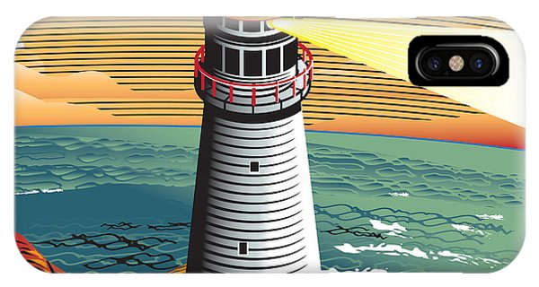 Red Sky iPhone X Case - Summer Point Lighthouse by Bigredlynx