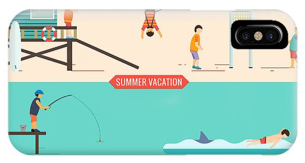 Fisherman iPhone Case - Summer Vacation People Set by Antikwar