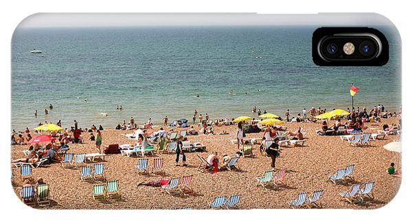 Oceanfront iPhone Case - Summertime Beach Near Ocean Crowded by N K
