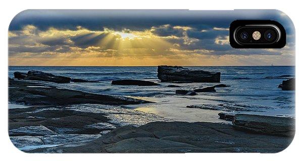 Sun Rays Burst Through The Clouds - Seascape IPhone Case