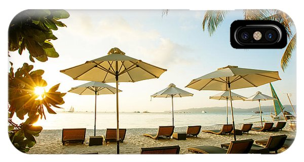 Hotel iPhone Case - Sun Umbrellas And Beach Chairs On by My Good Images