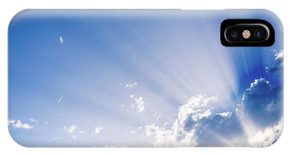Sunbeams Rising From A Large Cloud In Intense Blue Sky On A Summer Afternoon IPhone Case