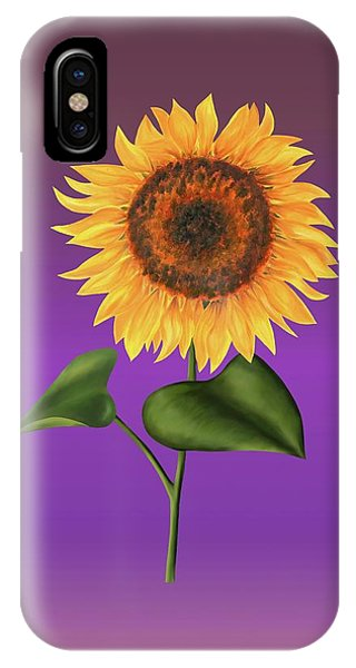 Sunflower On Purple IPhone Case
