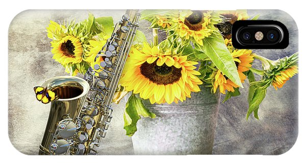 Yellow Trumpet iPhone Case - Sunflowers And Saxophone by Mihaela Pater