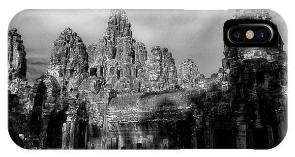 Angkor Thom iPhone Case - Sunlight Falling On Temple At Sunset by Panoramic Images