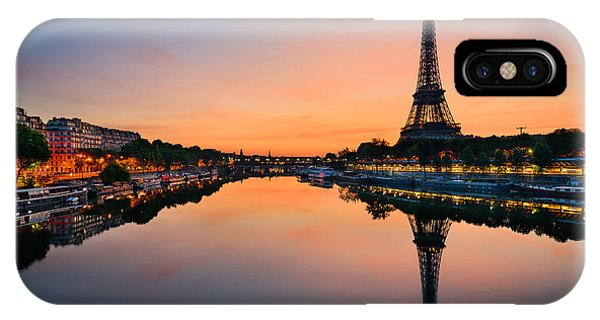 French iPhone Case - Sunrise At The Eiffel Tower, Paris by Mapics