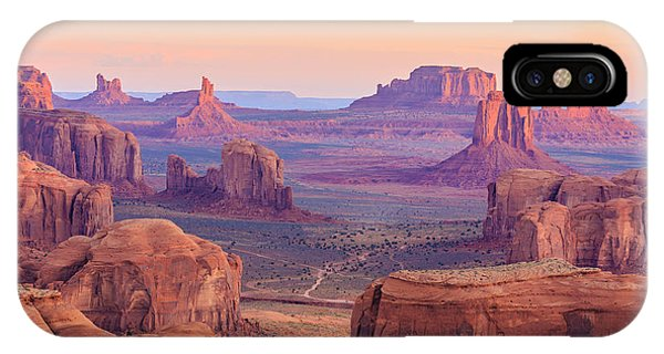 Red Rock iPhone X Case - Sunrise In Hunts Mesa, Monument Valley by Elena suvorova
