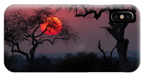 Beautiful Sunrise iPhone X Case - Sunrise In The African Savanna Kruger by Francesco De Marco