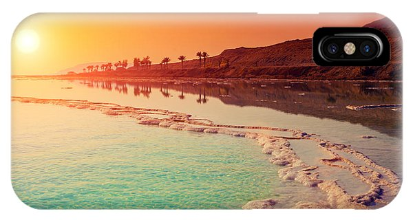 Red Sky iPhone X Case - Sunrise Over Dead Sea by Vvvita