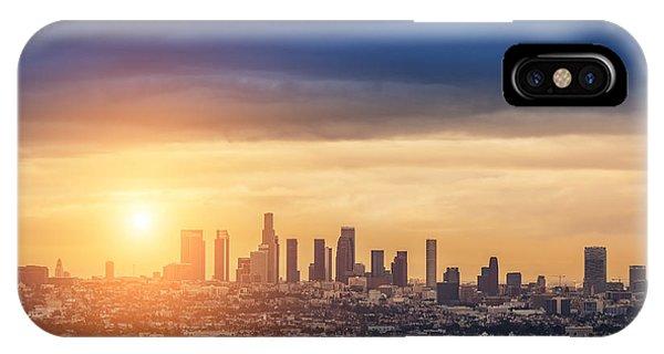 Beautiful Sunrise iPhone Case - Sunrise Over Los Angeles City Skyline by Logoboom
