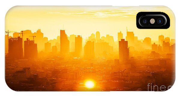 Office Buildings iPhone Case - Sunrise Over Modern Office Buildings In by Twstock