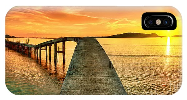 Dusk iPhone Case - Sunrise Over The Sea. Pier On The by Khoroshunova Olga