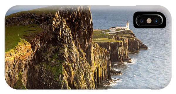 Lighthouse iPhone Case - Sunset And Lighthouse At Neist Point by Luboslav Tiles