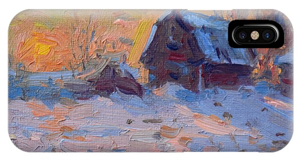 Barn Snow iPhone Case - Sunset And Snow In The Farm  by Ylli Haruni