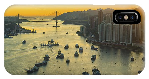 Office Buildings iPhone Case - Sunset At Hong Kong Downtown by Coloursinmylife