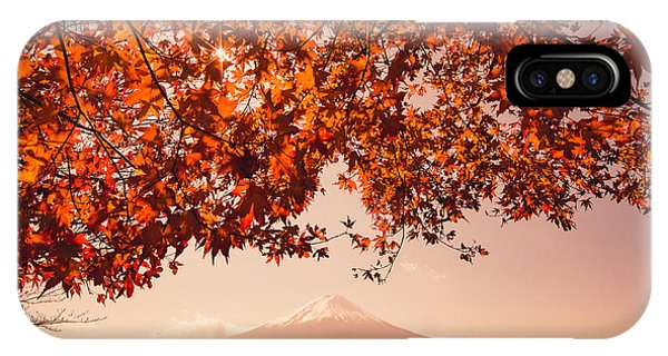 Beautiful Sunrise iPhone Case - Sunset At Mountain Fuji And Red Maple by Ommaphat Chotirat