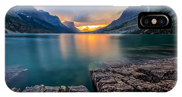 Beams iPhone Case - Sunset At St. Mary Lake, Glacier by Kan khampanya