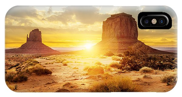 Red Rock iPhone X Case - Sunset At The Sisters In Monument by Ventdusud