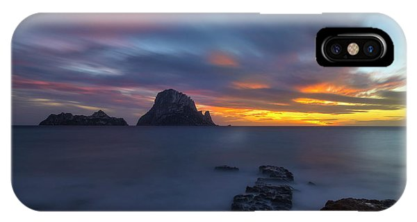 Sunset In The Mediterranean Sea With The Island Of Es Vedra IPhone Case